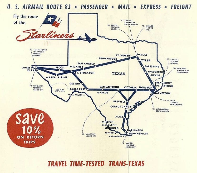 Trans Texas Airways route map ... the Route of the ... on central airlines route map, air niugini route map, iberia route map, twa route map, national airlines route map, eastern air lines route map, horizon air route map, republic airlines route map, delta air lines route map, aeroperu route map, american airlines route map, skywest airlines route map, air south route map, luxair route map, great northern route map, compass airlines route map, british airways route map, alaska airlines route map, germanwings route map, aeroflot route map,