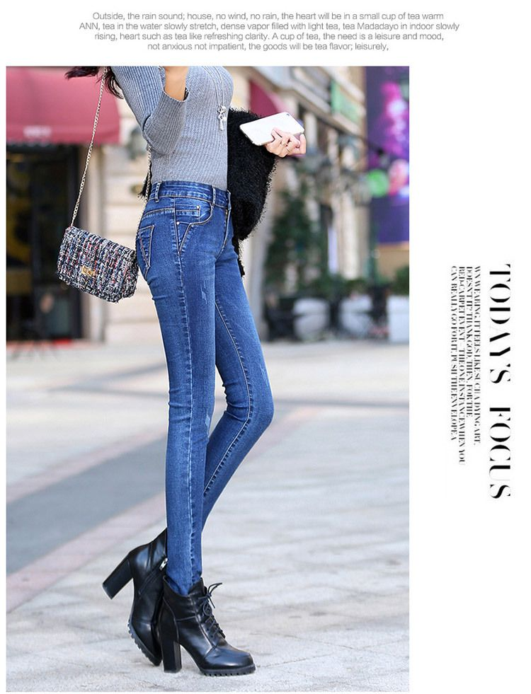 3b753fae492b8 Winter Jeans woman 2018 warm #Female Pencil Pants #ladies Plus size ...