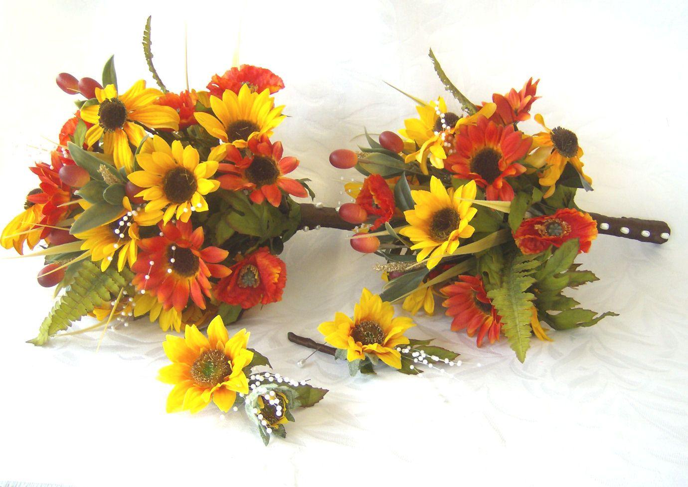 sunflower bridal bouquet sunflowers black eyed susan poppies wedding bouquet