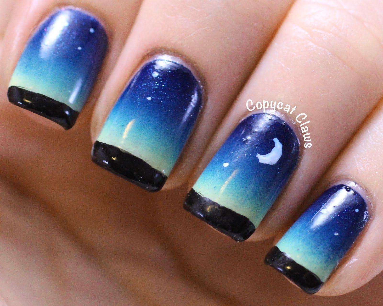 Copycat Claws: Night Sky Nail Art | nails | Pinterest | Sky nails ...