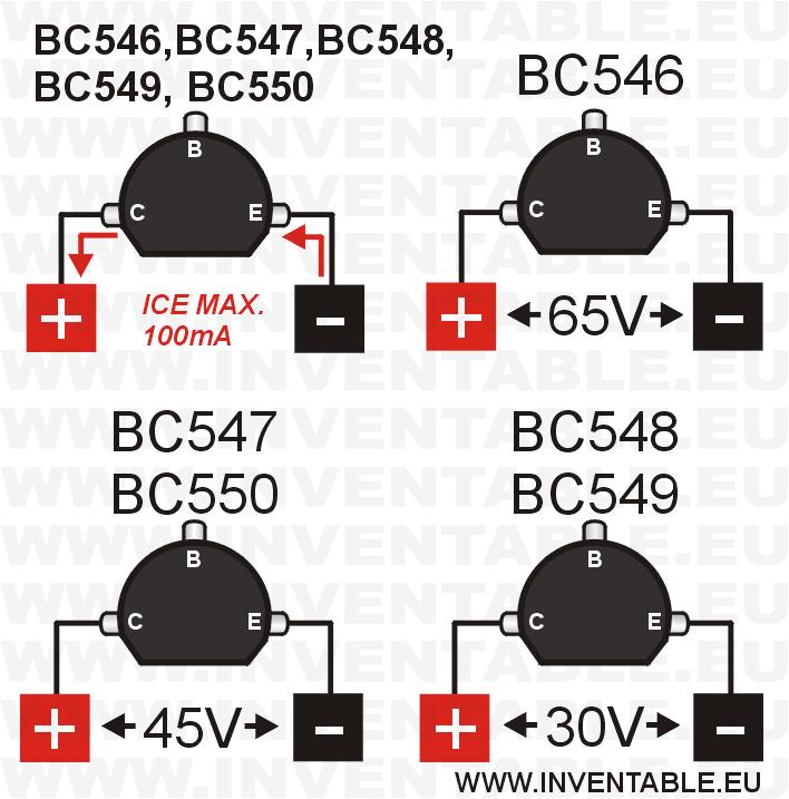 Tensiones y corriente máxima de los transistores BC546, BC547, BC548 ...