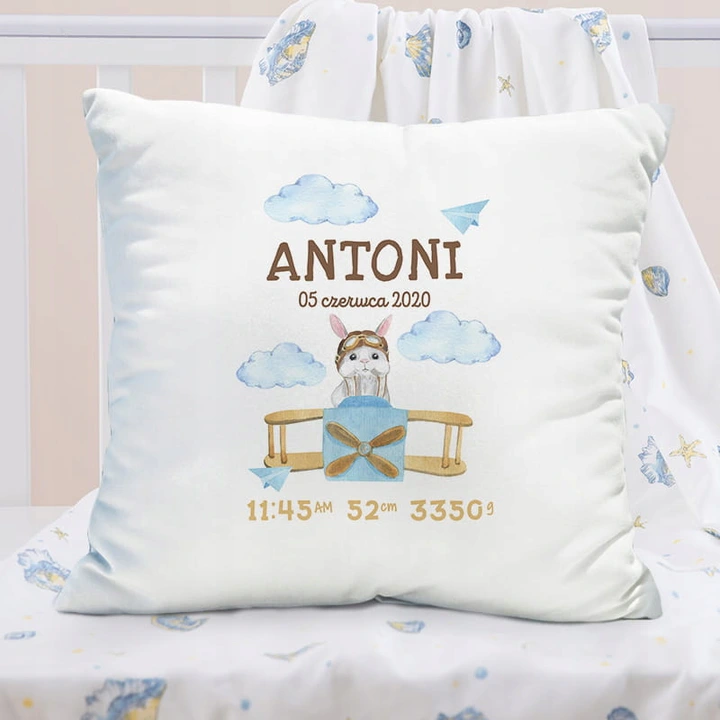Poduszka Prezent Dla Dziecka Metryczka Samolocik Throw Pillows Pillows