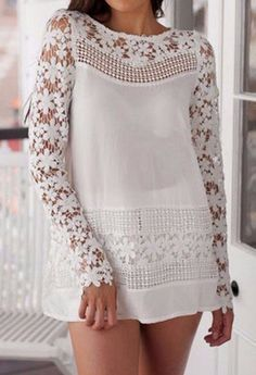 Women s New Casual Floral White Long Sleeve Blouse Tunic Crochet Lace Blouse L | eBay
