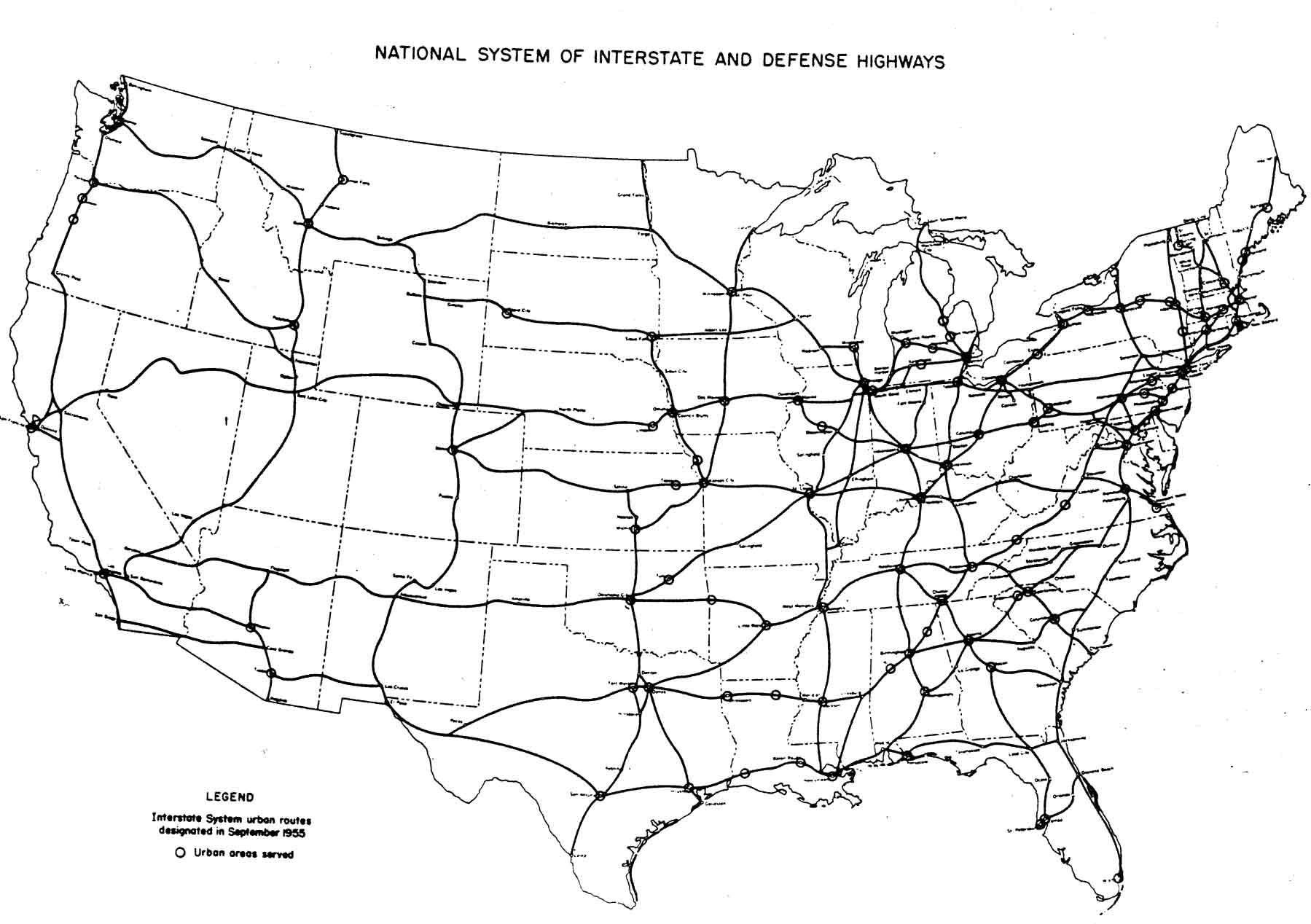 Original plan for the Interstate Highway System in the United