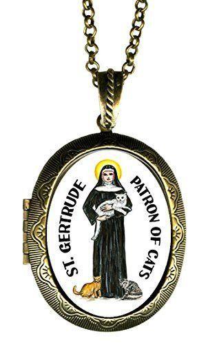 "St Gertrude Patron of Cats Huge 2 1/2"" Locket Pendant Gold Bronze"