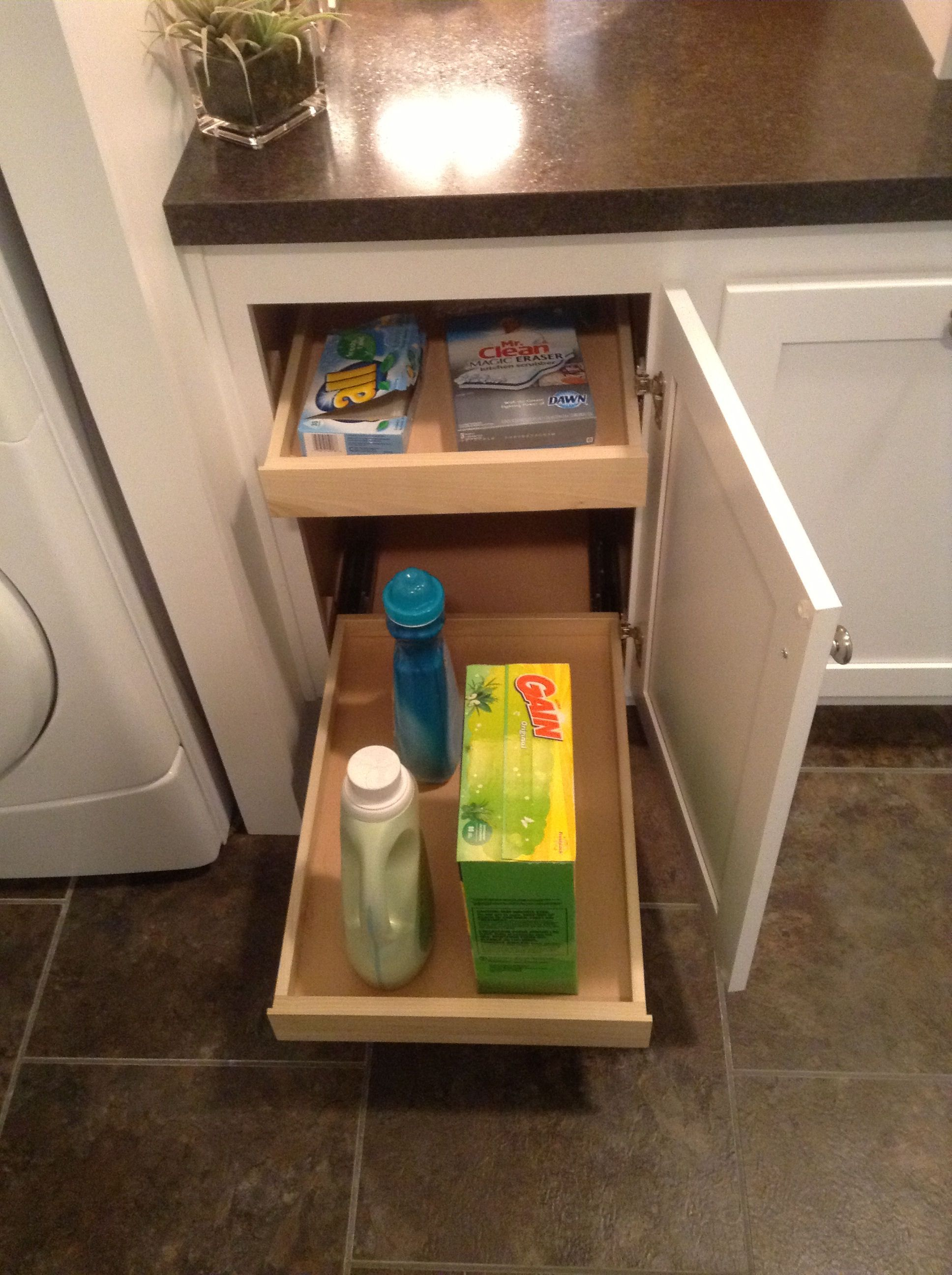 Full Extension Base Cabinet Storage In The Utility Room