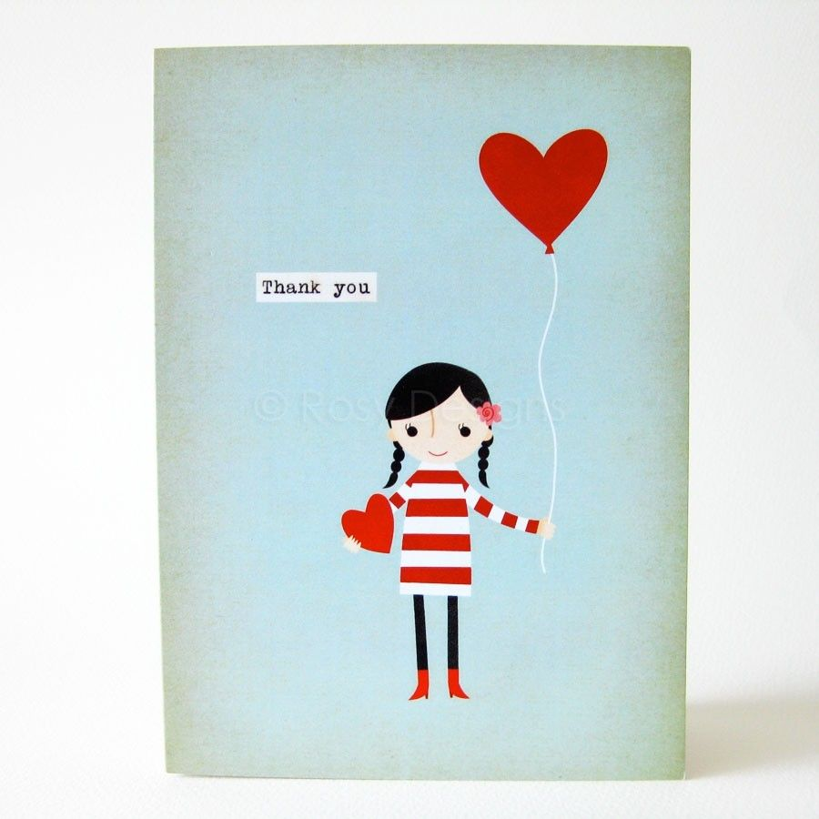 Girl With Balloon Thank You Greeting Card By Rosydesignsonline