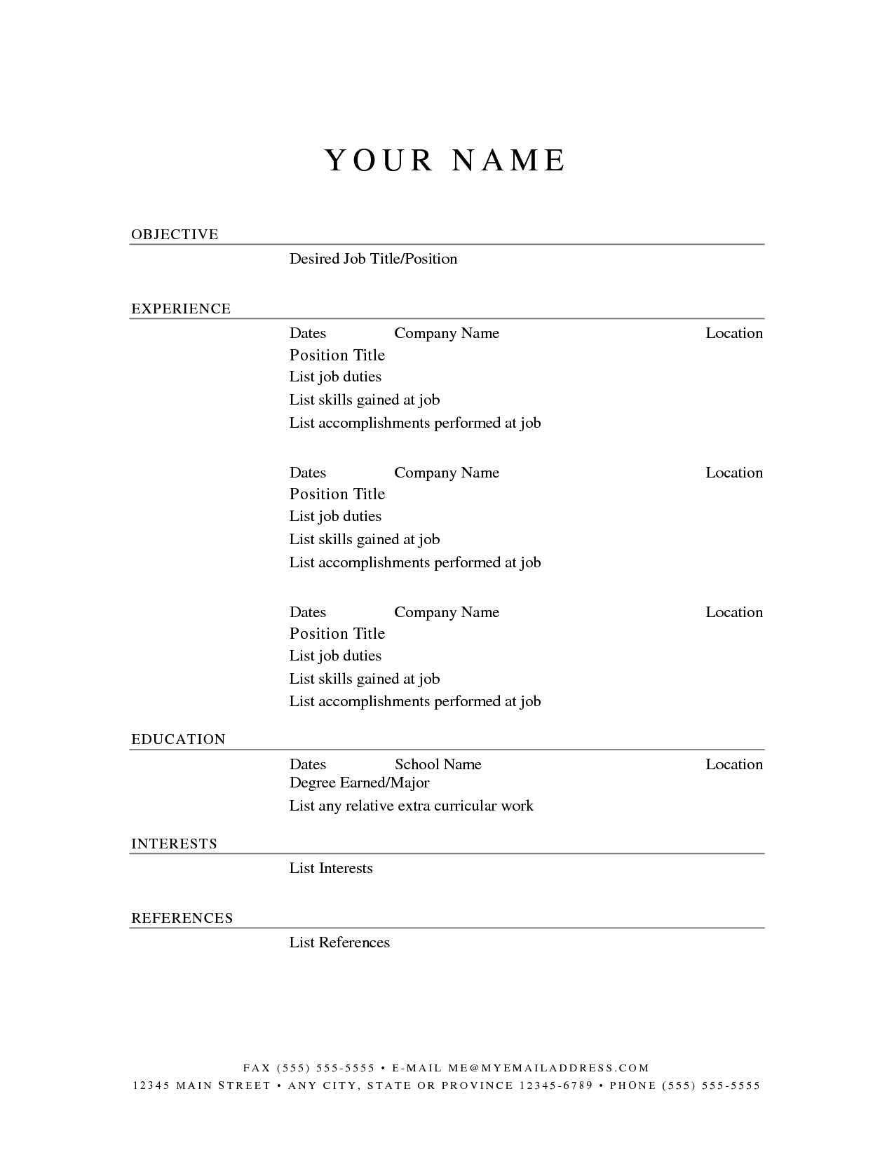 basic resume outline templates httpwwwjobresumewebsitebasic - Job Resume Templates