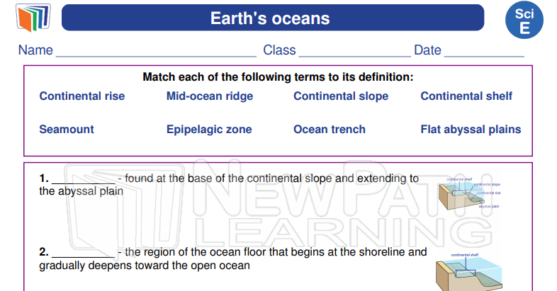 Science 5th Grade Download Printable Vocabulary Worksheets To Learn About Earth S Ocean Vocabulary Worksheets Science Worksheets 5th Grade Context Clues