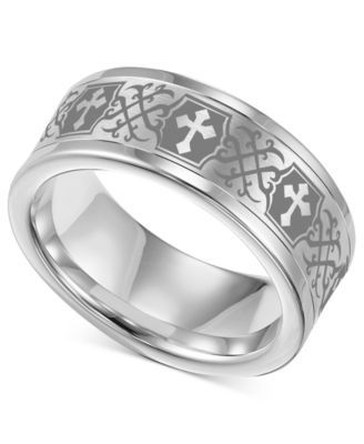Triton Mens Tungsten Carbide Ring Comfort Fit Etched Cross Wedding