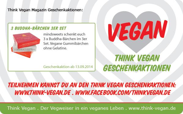 Gewinnt drei vegane Buddha-Bärchen Sets! Auf der facebook-Seite von Think Vegan könnt ihr noch bis heute, dem 28. September 2014, drei vegane Buddha-Bärchen...