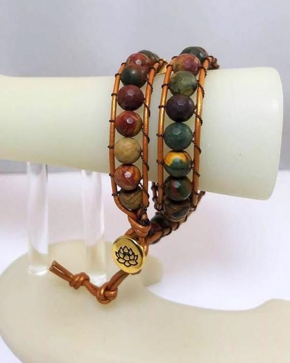 Brown Leather Woven Bracelets Etsy With Red Creek Jasper