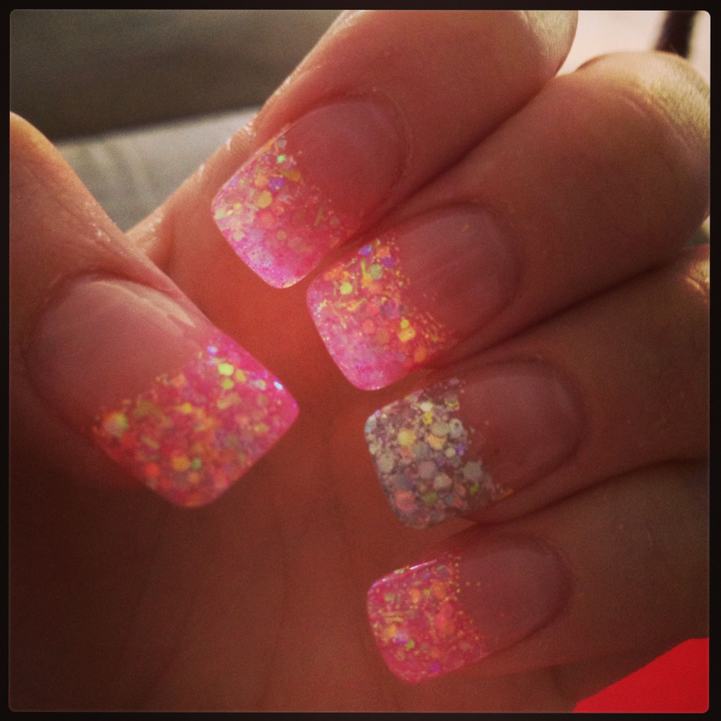 Pink & silver glitter acrylic nails | Nails | Pinterest ...
