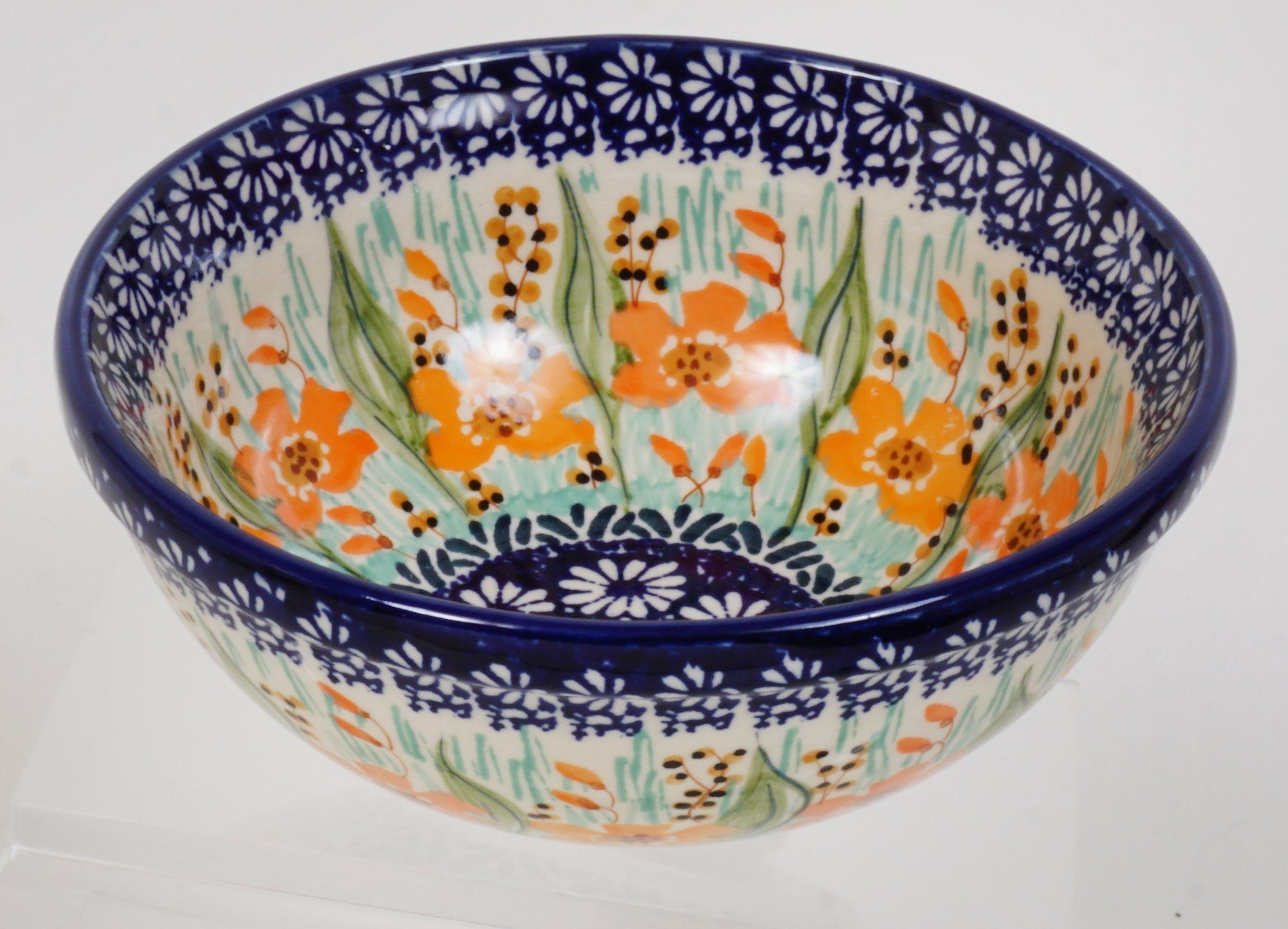 """POLISH POTTERY 6.75/"""" SIGNED  SERVING BOWL NEW !"""