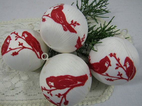 Vintage Satin String Felted Bird Ornaments Red by TheFlyingHostess