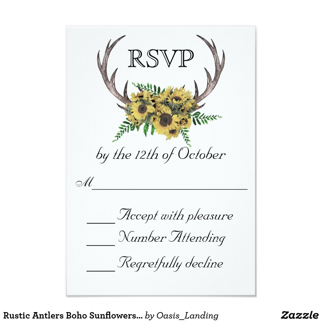 Rustic Antlers Boho Sunflowers Wedding Rsvp Card With Enchanting Style This Design Features Deer Horns Beautifully: Sunflower Wedding Invitations Rustic Antlers At Reisefeber.org