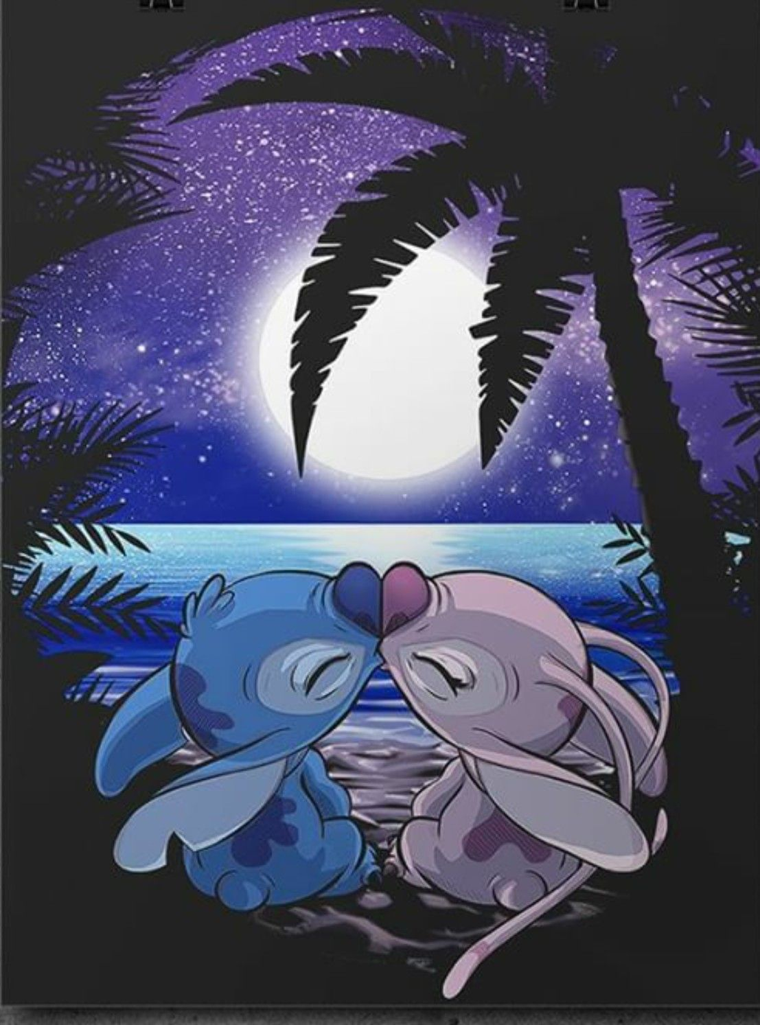 Stitch And Angel Under The Full Moon En 2019 Fond D Ecran