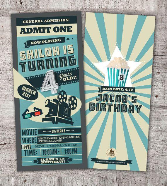 Printable Movie Invitations DIY Movie Ticket by LyonsPrints KRBs