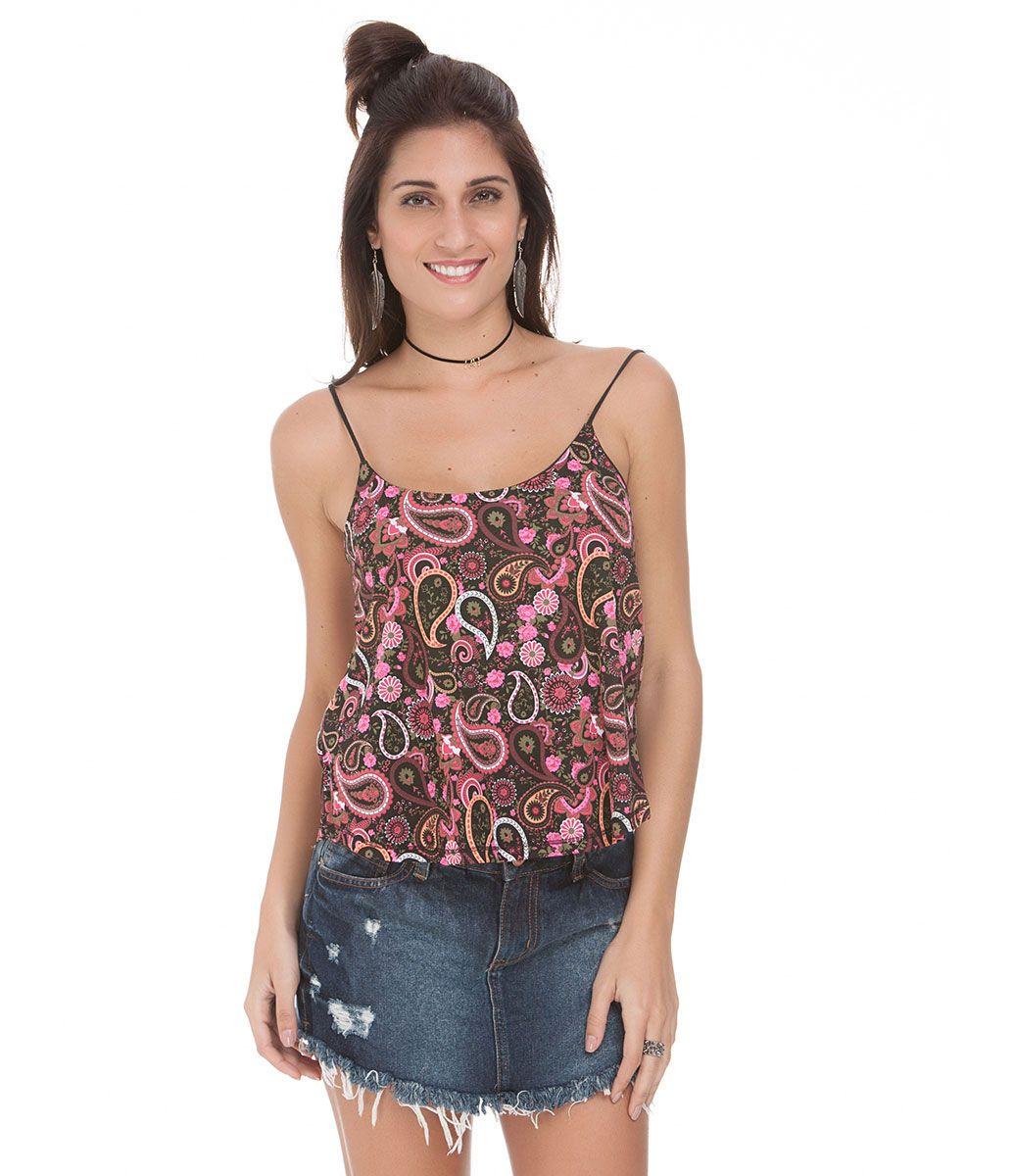 Blusa Cropped Feminina Estampada - Lojas Renner