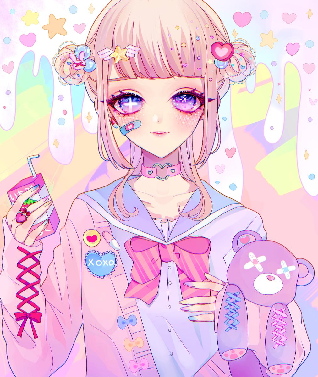 Vocaloid Megurine Luka chibi long hair pink hair aqua eyes