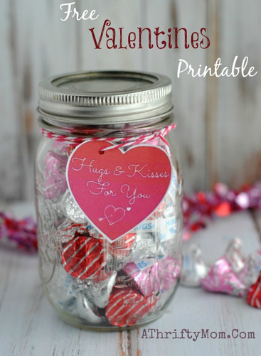 Free Valentines Printable, Hugs and Kisses Valentine Tag, Free ...
