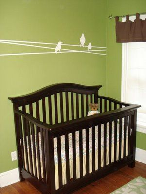 Love The Wall Color Green And Brown Gender Neutral Nursery Design Dazzle