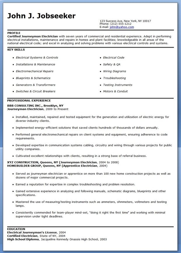 Journeyman Electrician Resume Samples Creative Resume Design - blue sky resumes