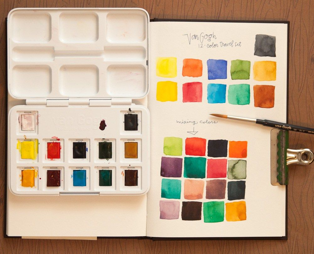 Van Gogh Travel Watercolor Set Swatches Color Mixing Chart Van