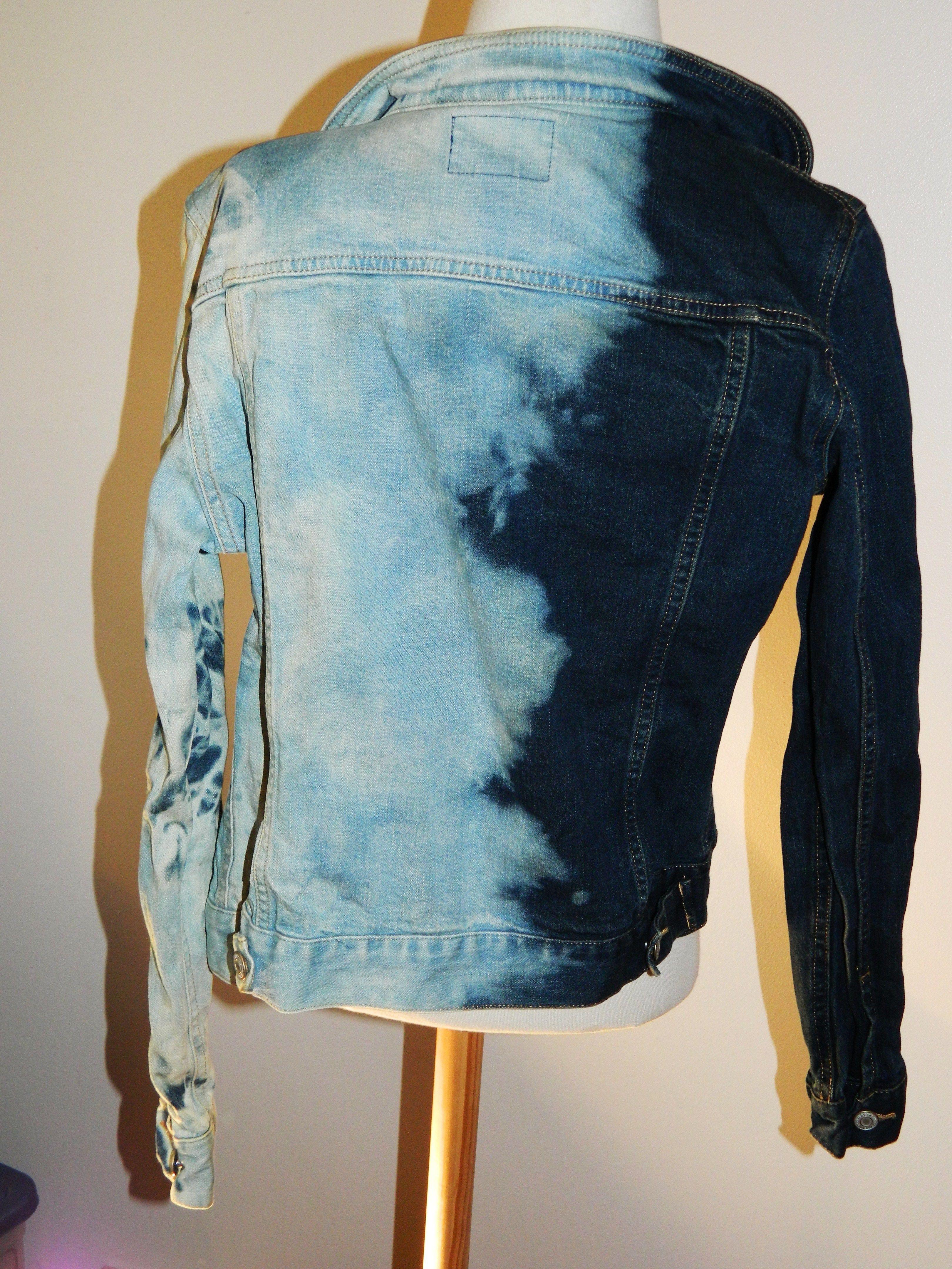 Diy tiedye bleached denim jacket trendy denim jacket
