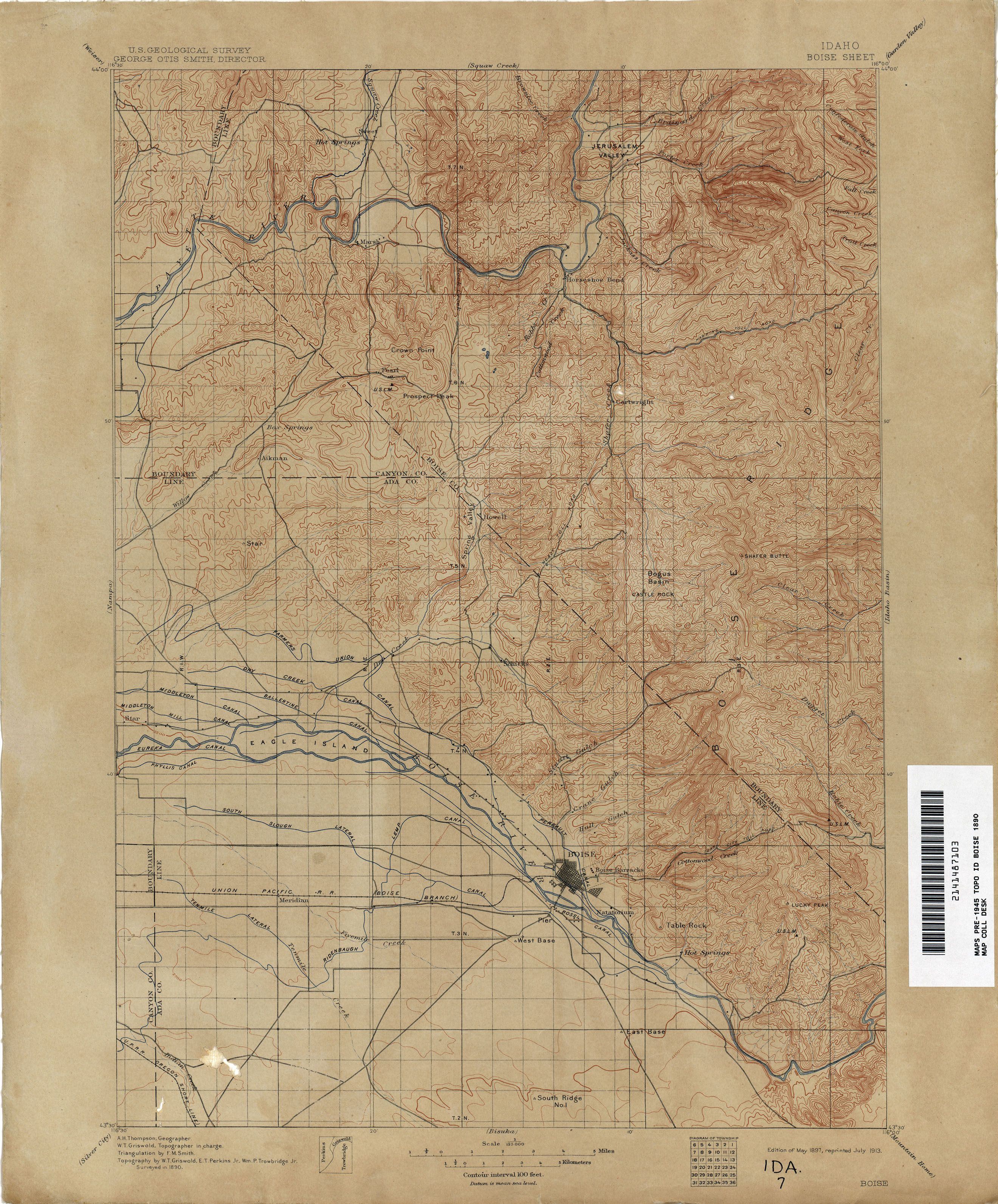 Boise Idaho Topo Map Circa 1890 Idaho Became A State On July 3