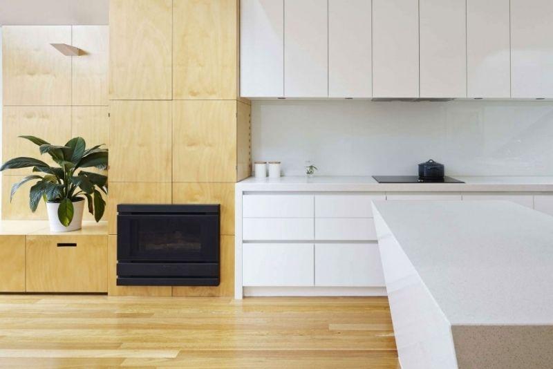 cuisine-bois-blanc-meubles-salon-bois-clair-parquet-assorti ...