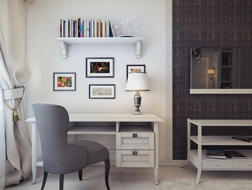Beautiful Small Home Office Decorating Idea Showing White Desk And Table Lamp Gray Armless Chair