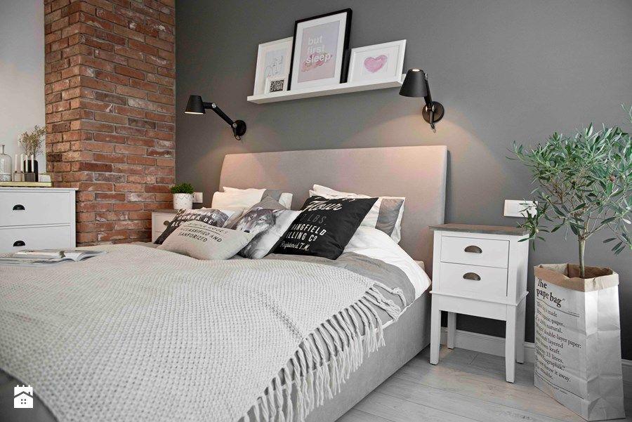 Riviera of blue Średnia sypialnia małżeńska styl skandynawski