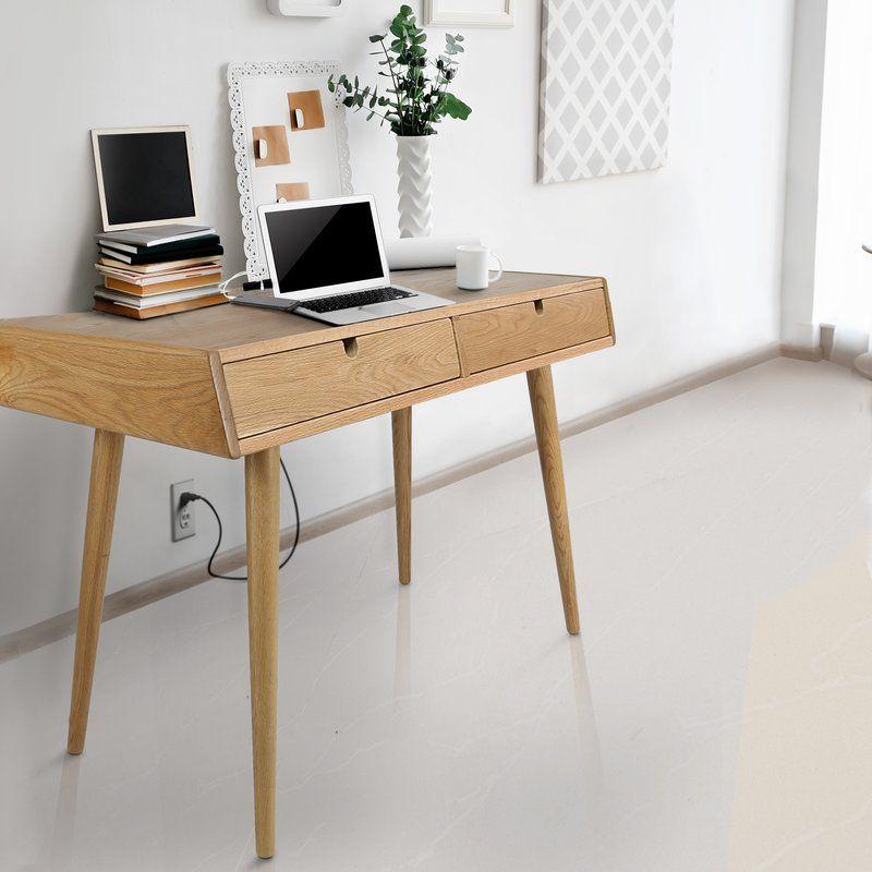 Aldrich Solid Wood Writing Desk Reviews Allmodern Solid Wood Writing Desk Wood Writing Desk Solid Oak Desk