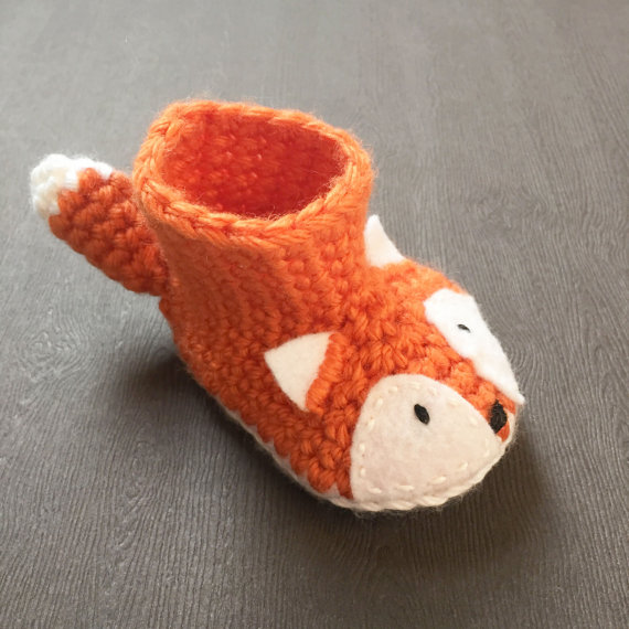 9e8b902353c0 Animal Fox Baby Booties - Fox Shoes - Crochet Baby Shoes - Fox Baby ...