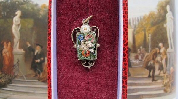 Image detail for -Roman Micro Mosaic pendant depicting a white bird with flowers