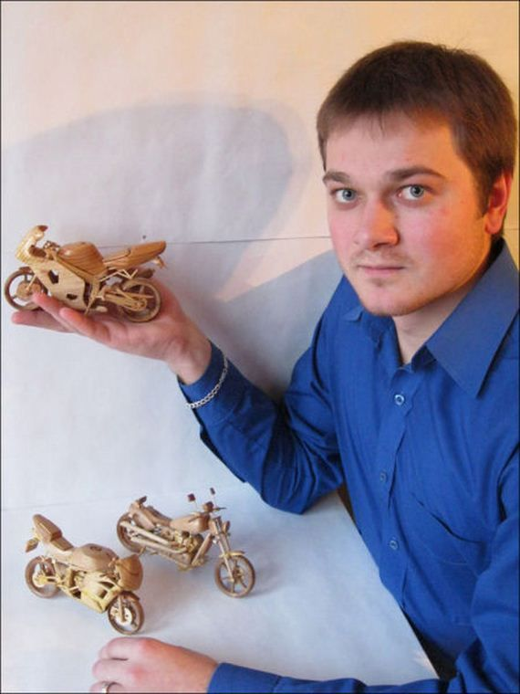 A collection of  incredible miniature motorcycles carved out of wood by Ukrainian artist Vyacheslav Voronovich.