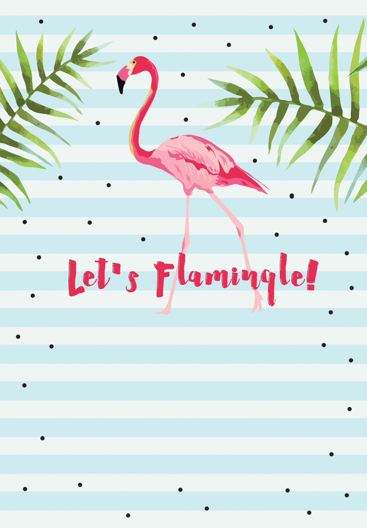 Let S Flamingle Free Printable Bridal Shower Invitation