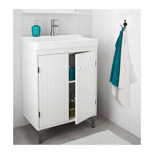 SILVERÅN / TÄLLEVIKEN Skab til vask med 2 låger, hvid hvid 60x41x88 cm