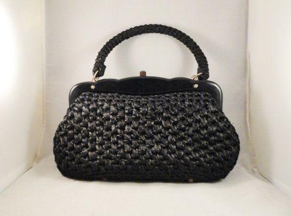 Vintage Handbag 50s 60s Mad Men Black Raffia Woven Purse May D & F Made in Italy