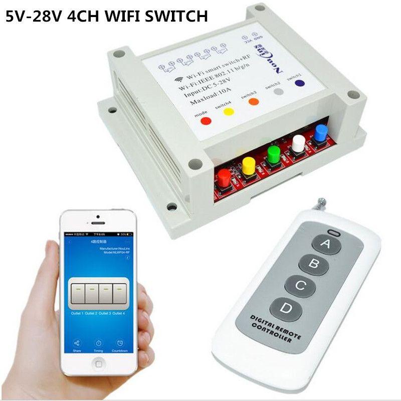 5V 7V 9V 12V 24V 28V DC 4CH WIFI Switch Remote Control Relay Timer