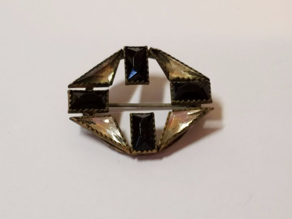 "Vintage Black Clear Glass Rhinestone Silver Tone Brooch Pin Art Deco Jewelry 1"""