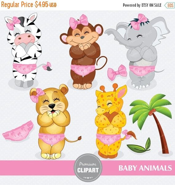 Baby safari animals digital clipart, safari animals clipart ...