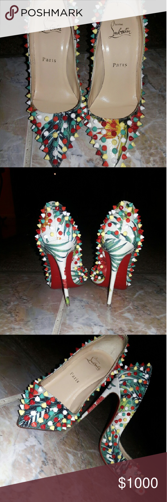 Louis Vuittton Follies Spiked Floral Red Sole Pump Follies Spiked Floral 120mm Red Sole Pump, White/Multi Louis Vuitton Shoes Heels
