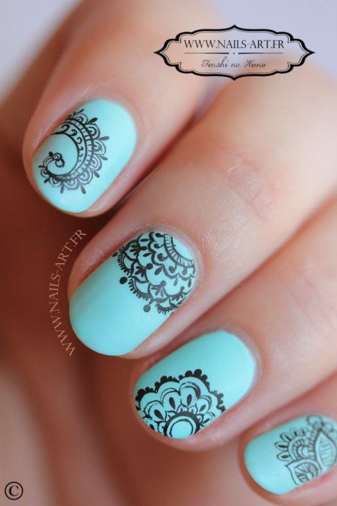 Vintage lace nails in blue theme | Nail Art | Lace nail art, Lace ...