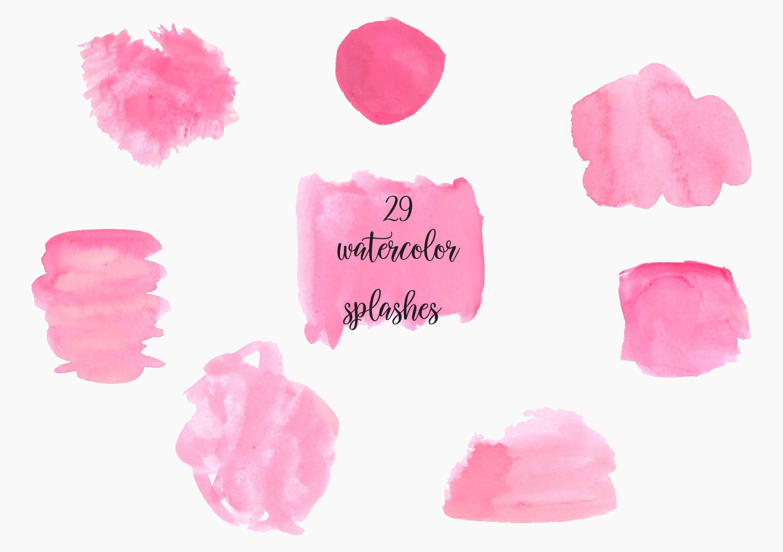 Pink Watercolor Splash Clipart Pink Watercolor Brush Strokes