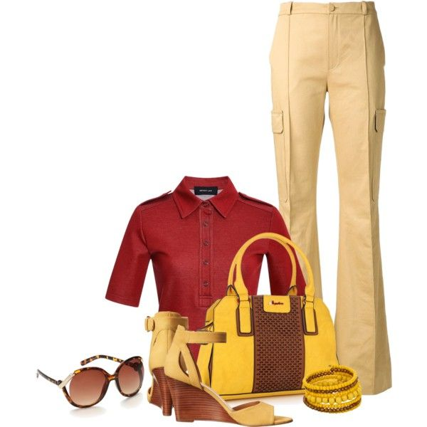 Office outfit: Red - Yellow by downtownblues on Polyvore featuring Derek Lam and Bouchra Jarrar