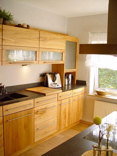 Fotos Massivholzküchen   Einbauküchen Kernbuche natur und weiß - arbeitsplatte küche nussbaum