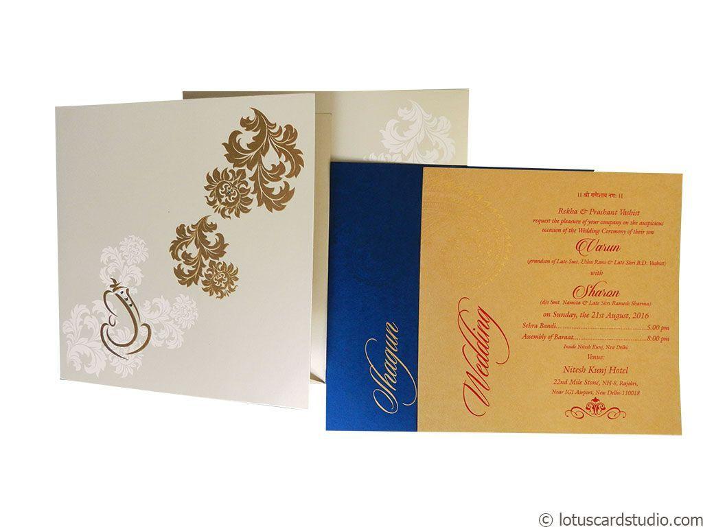 Metallic White Indian Wedding Card | Wedding card, Floral designs ...