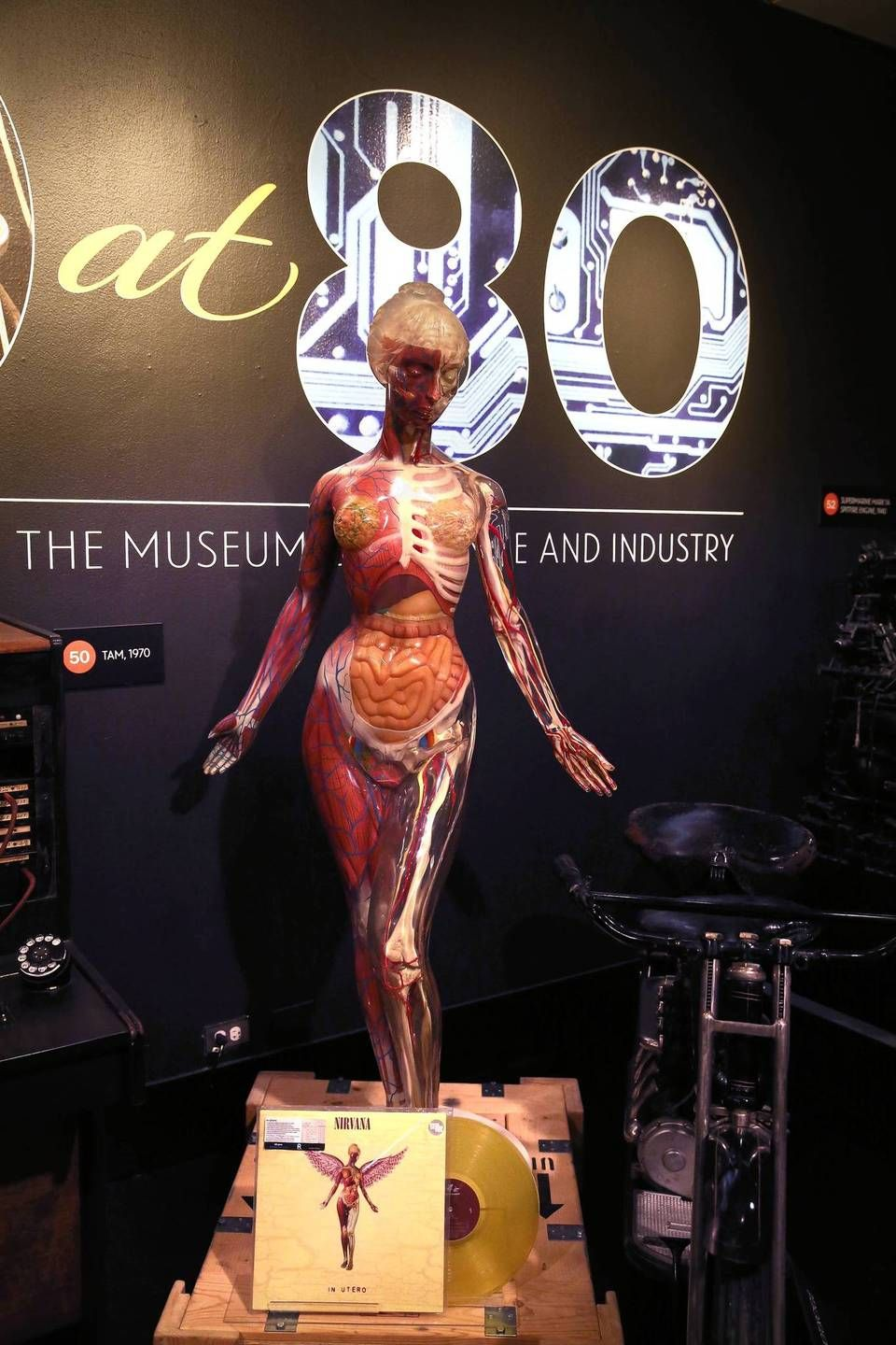 "The Nirvana Album cover of In Utero from 1993 was designed with a picture of this Museum of Science and Industry figure as a model. It's part of ""80 at 80""."